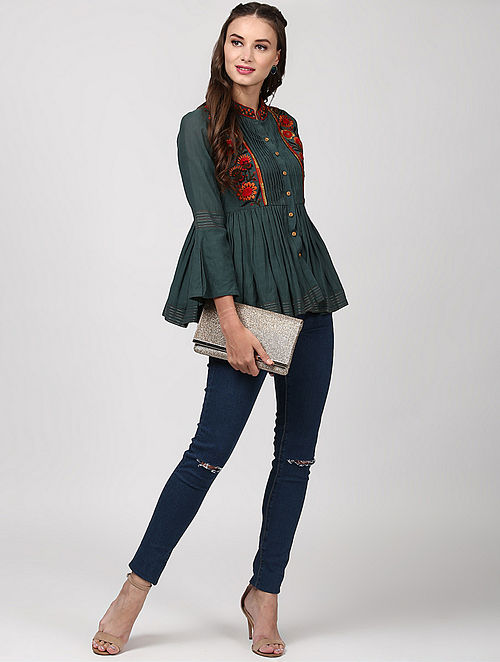 Grey Pleated Hand-embroidered Cotton Top