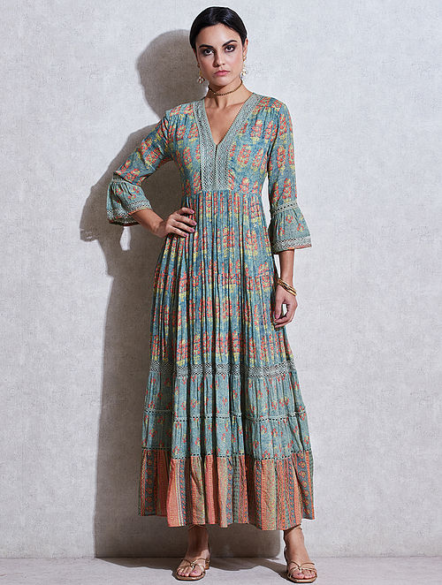 Green Printed Viscose Cotton Kurta Dress