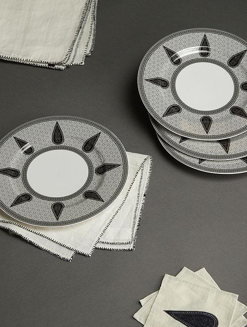 Awadh Black and White Porcelain Round Dinner Plates (Set of 4) (Dia - 27cm)