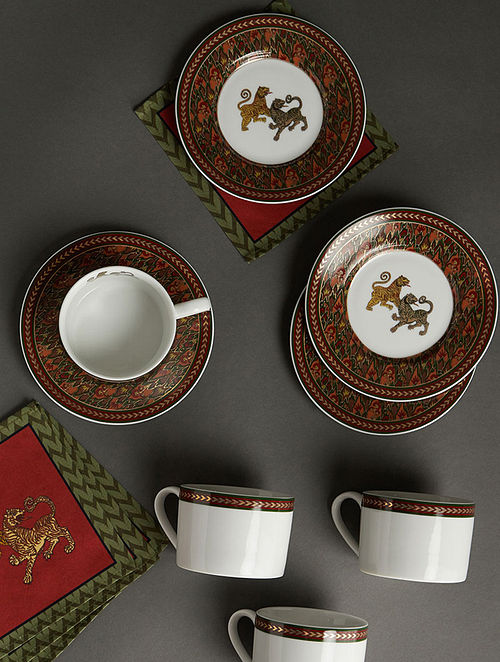Baagh Green Porcelain Cups with Saucers (Set of 4) (180ml)