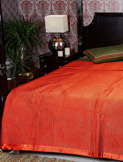 Baagh Rust Mashru and Cotton Voile Double Bedcover (110in x 90in)