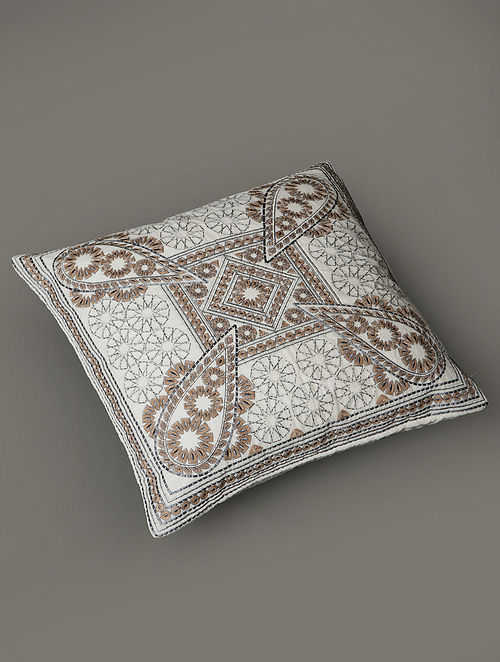 Awadh Off-White Viscose and Velvet Cushion Cover with Filler (18in x 18in)