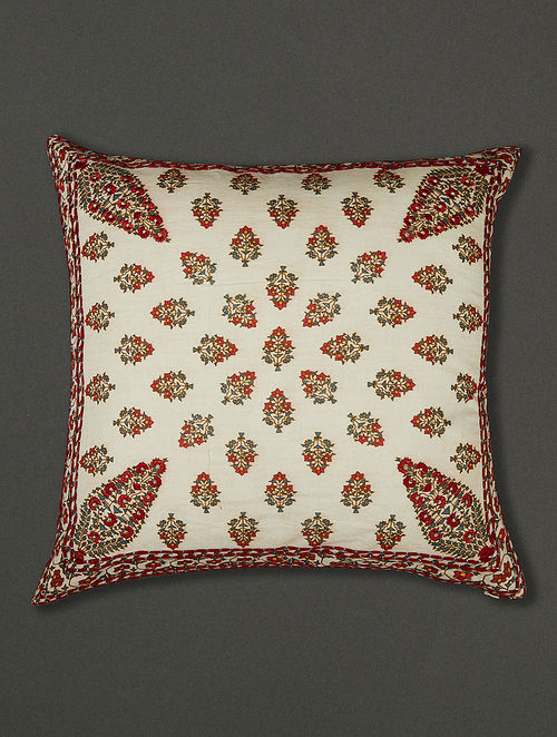Chameli Ivory Cotton Voile Cushion Cover with Filler (18in x 18in)