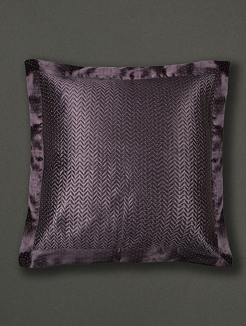 Agora Black Mashru and Cotton Voile Cushion Cover with Filler (18in x 18in)