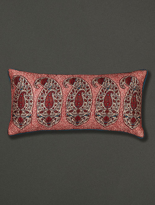 Kalash Red Polydupion Cushion Cover with Filler (24in x 12in)