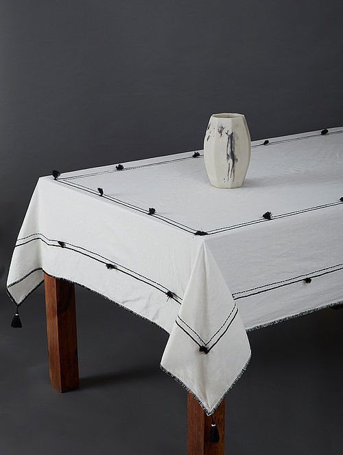 Awadh Black and White Cotton Linen Table Cover (60in x 90in)