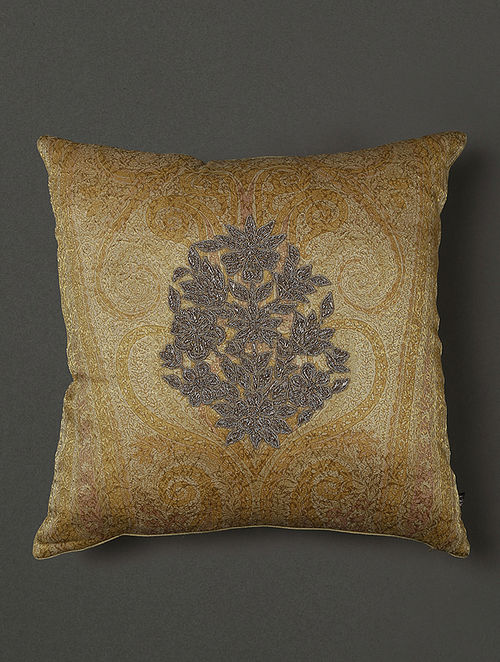 Classics Gold Banarasi Brocade Cushion Cover with Filler (16in x 16in)