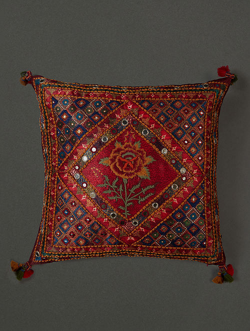 Lavana Red Kutch Print Mysore Silk Cushion Cover with Filler (16in x 16in)