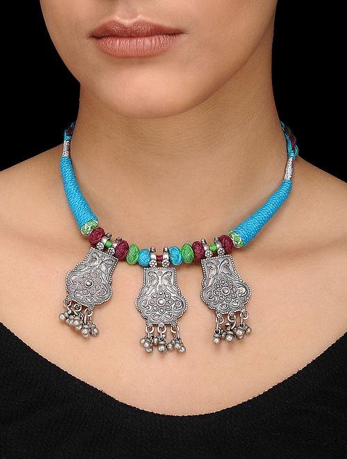 Multicolored Thread Silver Necklace