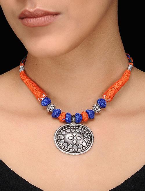 Blue-Orange Thread Silver Necklace