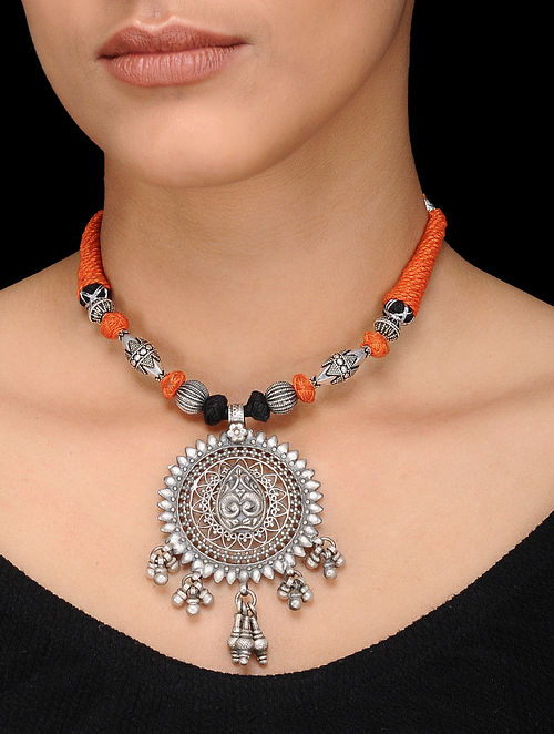 Orange-Black Thread Silver Necklace