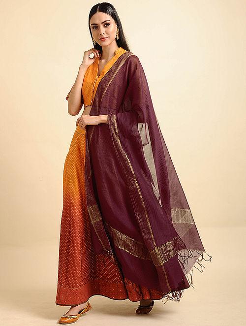 Maroon Silk Cotton Dupatta