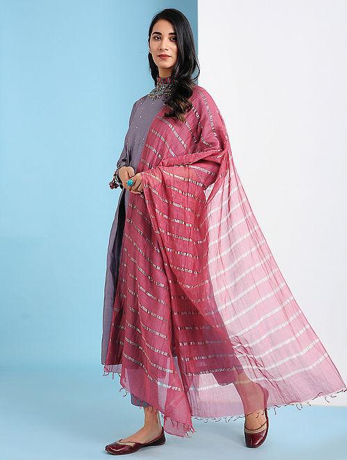 VOBKENT - Pink Silk Cotton Dupatta with Zari