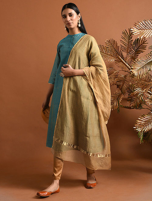 SARADA - Beige Silk Cotton Dupatta with Zari