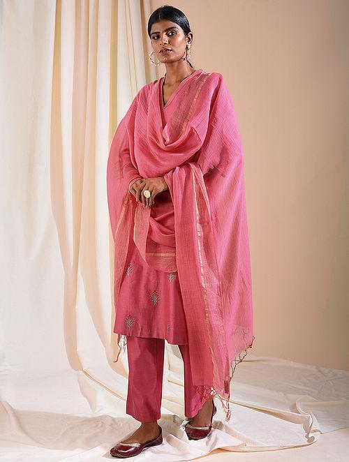 Pink Silk Cotton Dupatta with Zari