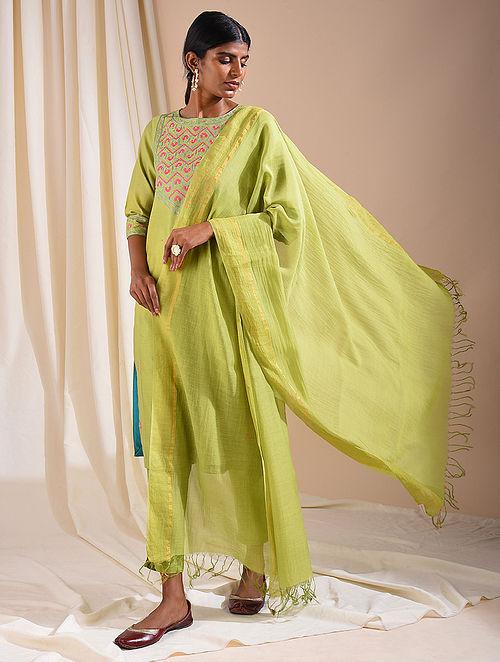 Green Silk Cotton Dupatta with Zari