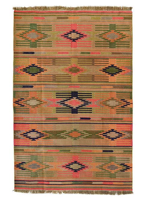 Beige-Multicolor Handwoven Cotton Dhurrie (5ft x 8ft)