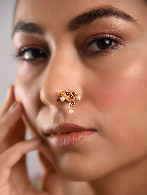 Red Gold Tone Temple Work Nose Pin With Pearls