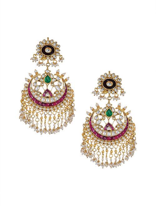 Pink Green Gold Tone Kundan Chaandbali Earrings with Pearls