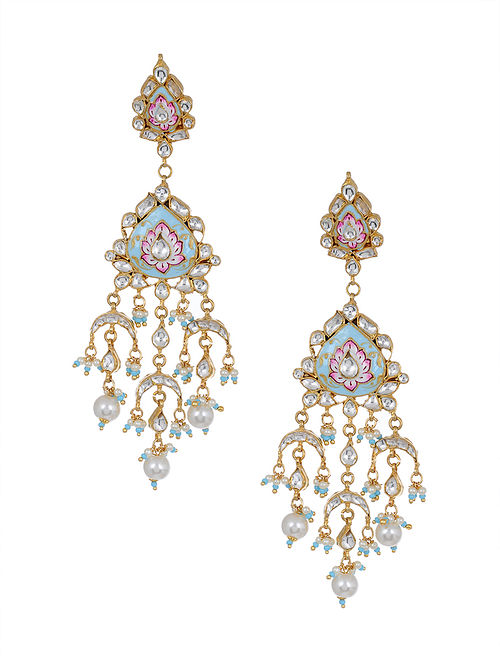 Pink Blue Meenakari Gold Tone Kundan Earrings with Pearls