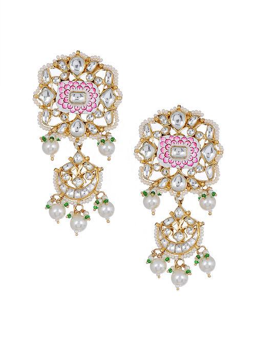 Pink White Meenakari Gold Tone Kundan Earrings with Pearls