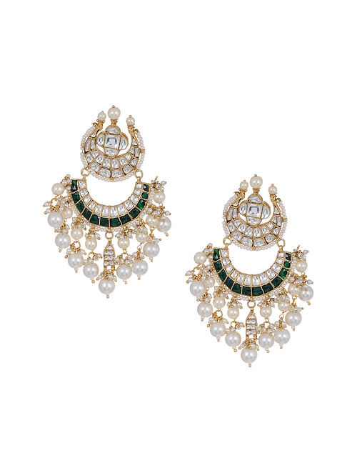 Green Gold Tone Kundan Chaandbai Earrings with Pearls