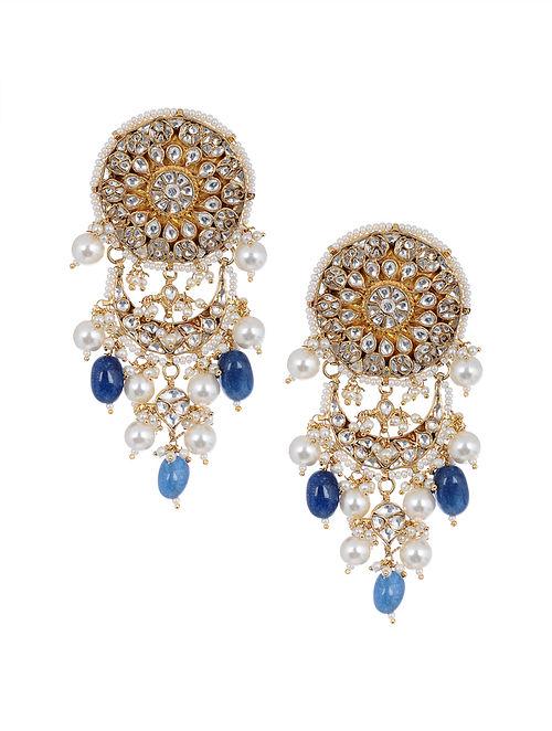 Blue Gold Tone Kundan Earrings with Pearls