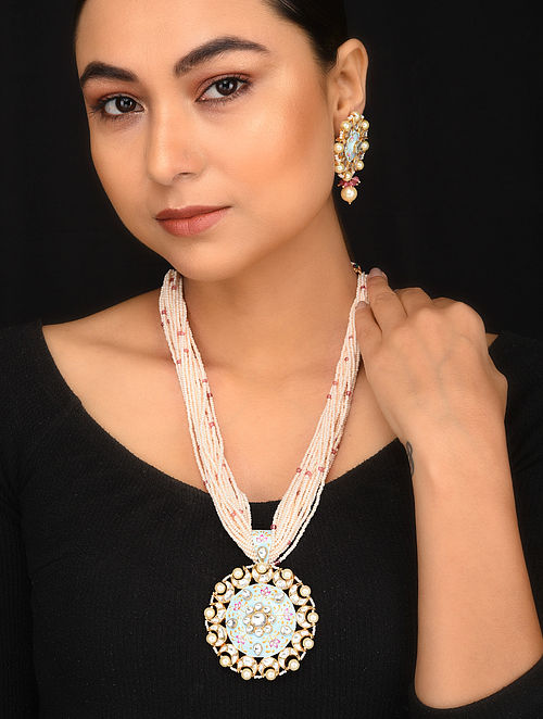 Blue Pink Meenakari Gold Tone Kundan Pearl Beaded Necklace with Earrings (Set of 2)
