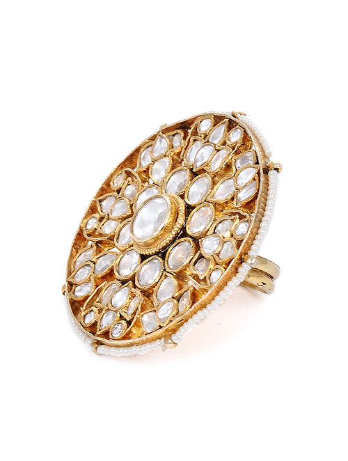 Gold Tone Kundan Adjustable Ring with Pearls