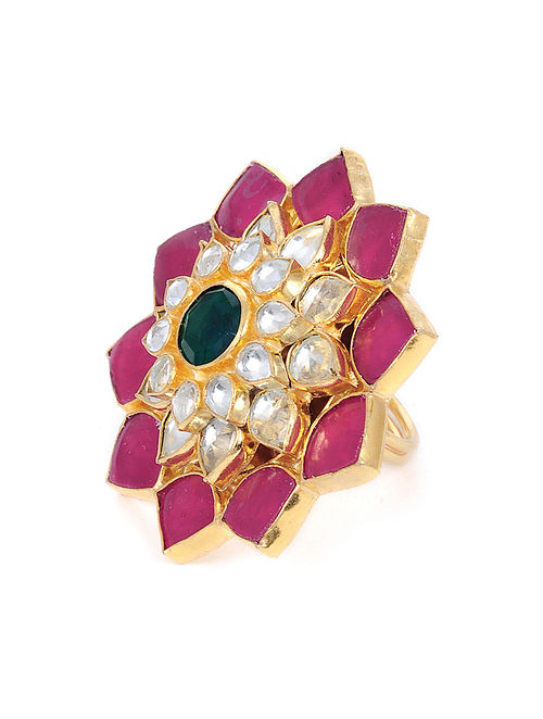 Pink Green Gold Tone Kundan Adjustable Ring