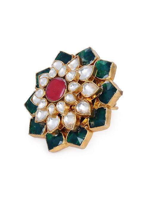 Green Red Gold Tone Kundan Adjustable Ring
