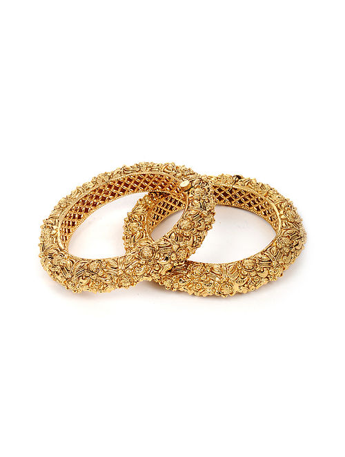 Gold Plated Handcrafted Hinged Bangles (Bangle Size: 2/4) (Set of 2)