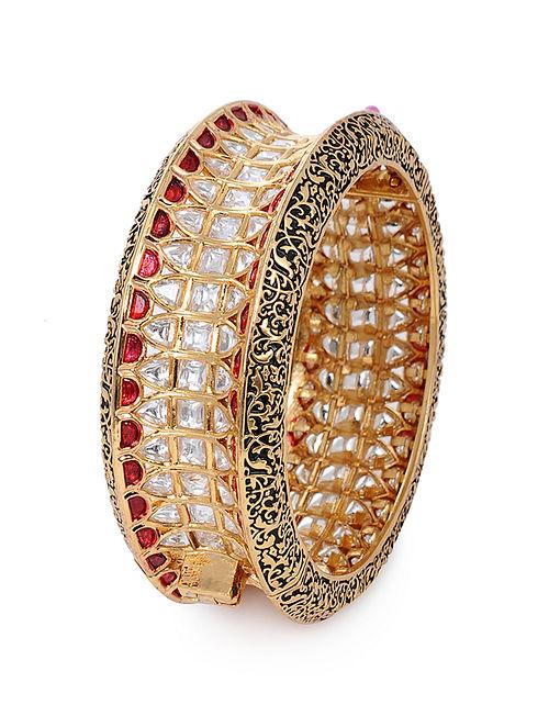 Red Gold Plated Kundan Hinged Bangle (Bangle Size: 2/2)
