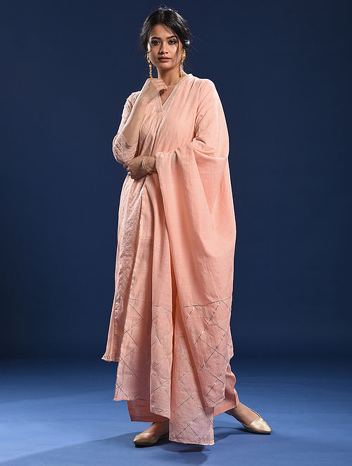 MARINA - Peach Cotton Dupatta with Gota