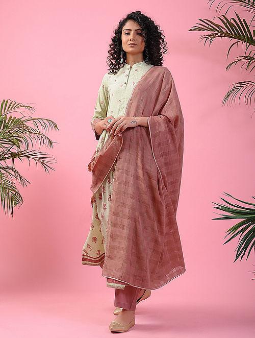 QUDISA - Pink Handloom Cotton Dupatta with Gota