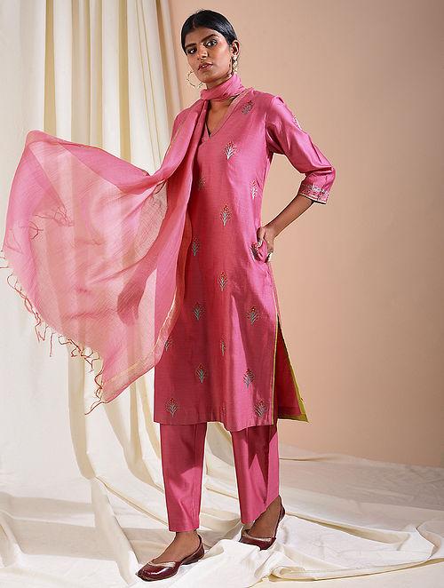 Pink Silk Cotton Kurta with Aari Embroidery