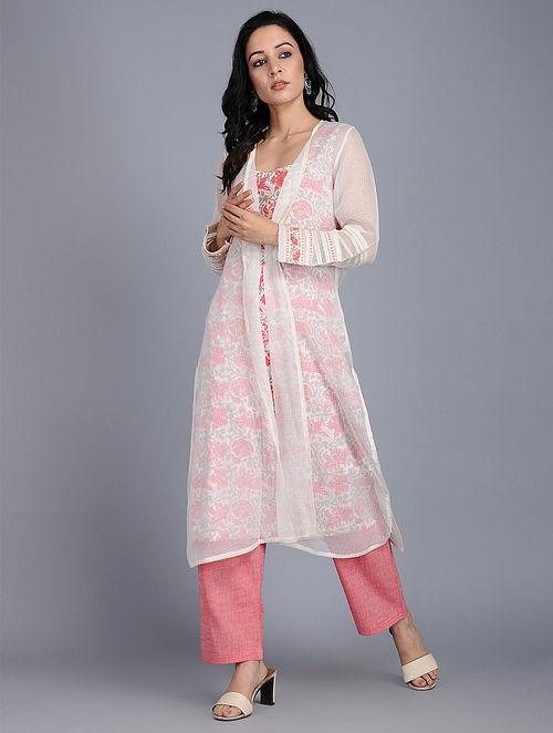 5ddffd355 Buy Ivory-Pink Kota Jacket with Block-printed Cotton Kurta (Set of 2 ...