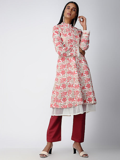 6d3f08990d9a Buy Red Block-printed Cotton Jacket with Kota Dress (Set of 2) Online ...