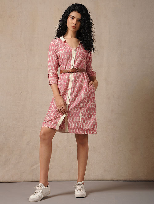 c230314aaebea4 Buy Ivory-Red Handloom Ikat Cotton Dress with Pockets Online at ...