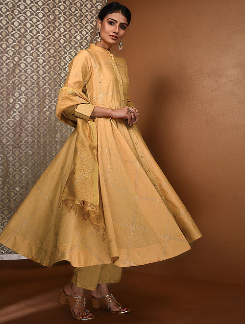 Yellow-Gold Khari Block-Printed Chanderi Flared Kurta