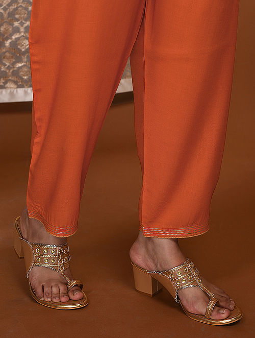 Orange Tie-Up Waist Modal Pants