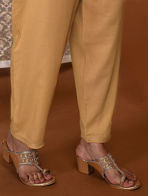 Yellow Tie-Up Waist Modal Pants