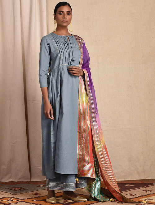 Blue Pleated Cotton Kurta with Gota