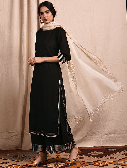 dc24e3fe5af91 Buy Black Mangalgiri Cotton Kurta with Gota Online at Jaypore.com