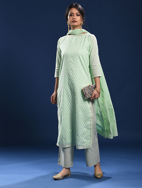 CAVELLOSSIM - Green Silk Cotton Cutwork Kurta with Gota