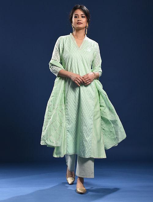 KOVALAM - Green Silk Cotton Cutwork Kurta with Gota