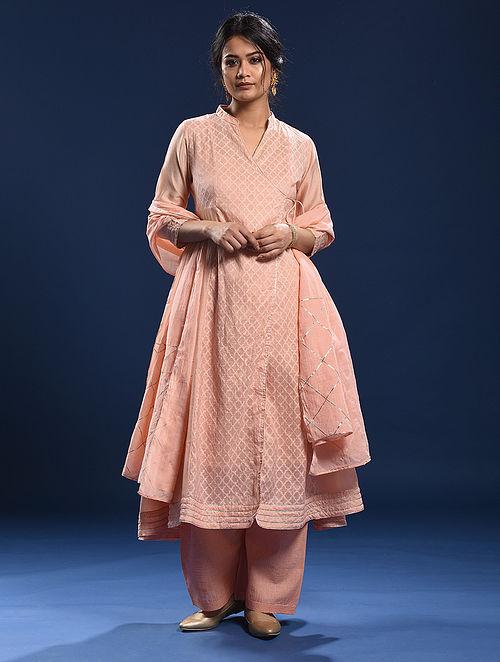 NAGAO - Peach Silk Cotton Cutwork Angrakha with Gota