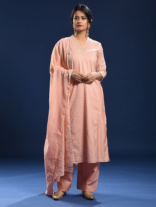 BENAULIM - Peach Silk Cotton Cutwork Kurta with Gota