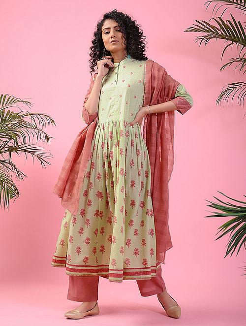 VERINAG - Green-Pink Block-printed Cotton Kurta with Zari
