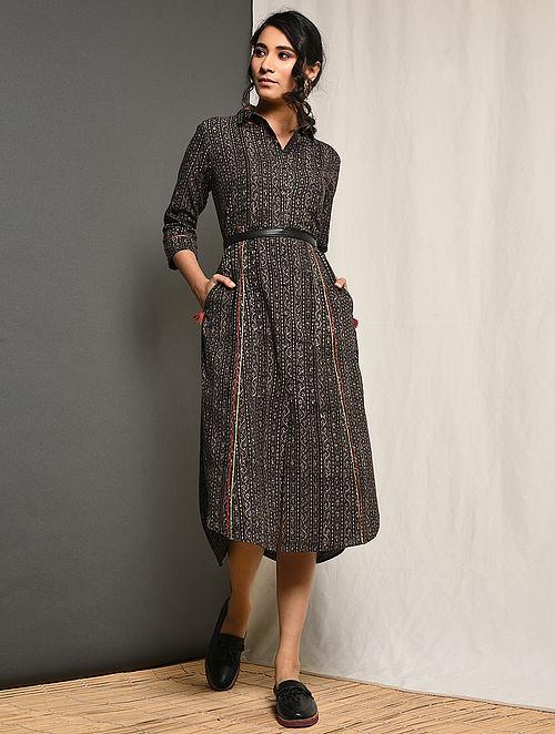 YASMEEN - Grey Block-printed Cotton Dress with Pockets